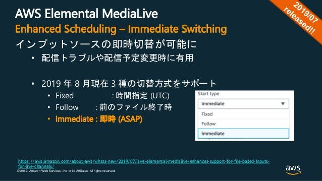 © 2019, Amazon Web Services, Inc. or its Affiliates. All rights reserved. AWS Elemental MediaLive インプットソースの即時切替が可能に • 配信トラ...