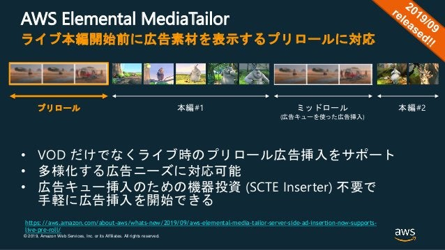 © 2019, Amazon Web Services, Inc. or its Affiliates. All rights reserved. AWS Elemental MediaTailor • VOD だけでなくライブ時のプリロール広...
