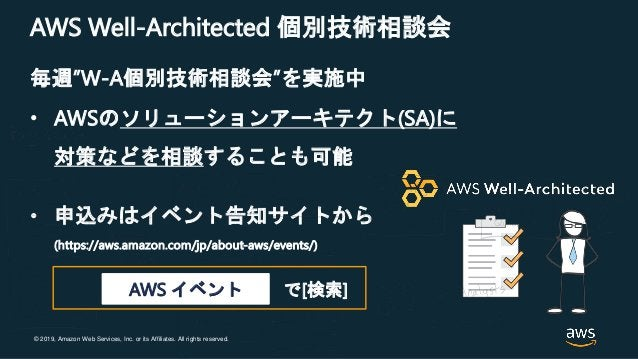 """© 2019, Amazon Web Services, Inc. or its Affiliates. All rights reserved. AWS Well-Architected 個別技術相談会 毎週""""W-A個別技術相談会""""を実施中 ..."""