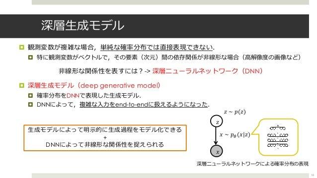 深層⽣成モデル ¤ 観測変数が複雑な場合,単純な確率分布では直接表現できない. ¤ 特に観測変数がベクトルで,その要素(次元)間の依存関係が⾮線形な場合(⾼解像度の画像など) ⾮線形な関係性を表すには︖-> 深層ニューラルネットワーク(DNN)...