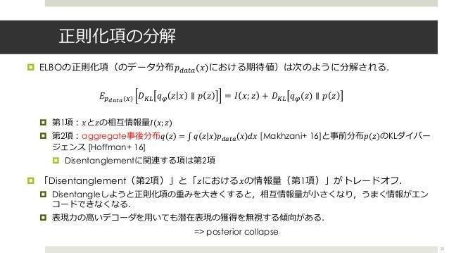 正則化項の分解 ¤ ELBOの正則化項(のデータ分布𝑝,-.-(𝑥)における期待値)は次のように分解される. ¤ 第1項︓𝑥と𝑧の相互情報量𝐼(𝑥; 𝑧) ¤ 第2項︓aggregate事後分布𝑞 𝑧 = ∫ 𝑞 𝑧 𝑥 𝑝,-.- 𝑥 𝑑𝑥 ...