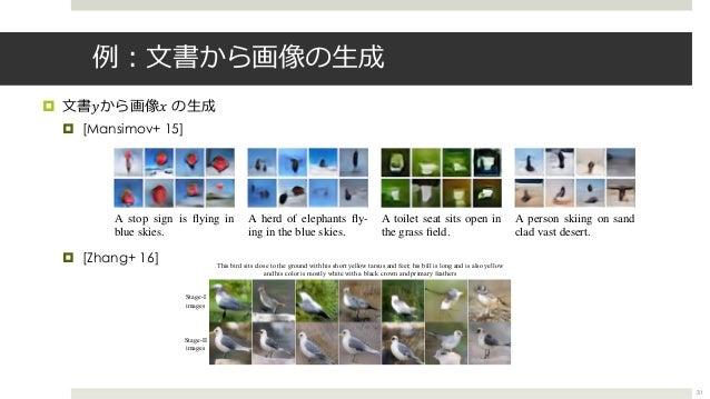 例︓⽂書から画像の⽣成 ¤ ⽂書𝑦から画像𝑥 の⽣成 ¤ [Mansimov+ 15] ¤ [Zhang+ 16] 31 Published as a conference paper at ICLR 2016 A stop sign is fl...