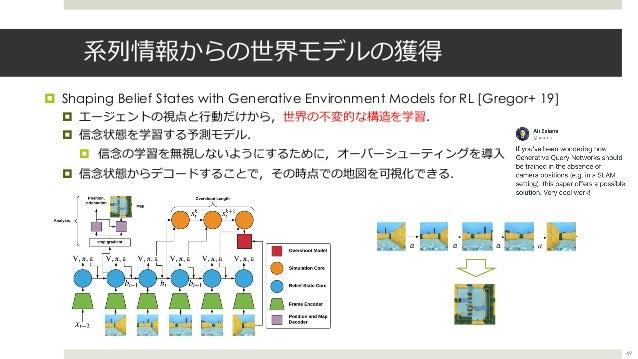 系列情報からの世界モデルの獲得 ¤ Shaping Belief States with Generative Environment Models for RL [Gregor+ 19] ¤ エージェントの視点と⾏動だけから,世界の不変的な構...