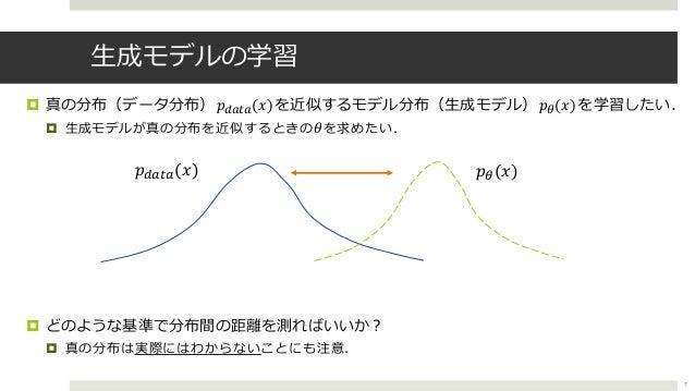 """⽣成モデルの学習 ¤ 真の分布(データ分布)𝑝,-.-(𝑥)を近似するモデル分布(⽣成モデル)𝑝""""(𝑥)を学習したい. ¤ ⽣成モデルが真の分布を近似するときの 𝜃を求めたい. ¤ どのような基準で分布間の距離を測ればいいか︖ ¤ 真の分布は実..."""