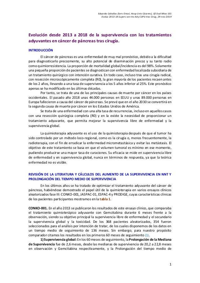 Eduardo Ceballos (Serv Oncol, Hosp Univ Cáceres), Of Eval Mtos SES Evoluc 2013-18 Superv con tto Ady CáPá tras Cirug, 29-n...