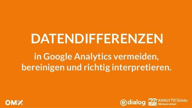 ANALYTICSkiste Michaela Linhart ANALYTICSkiste Michaela Linhart DATENDIFFERENZEN in Google Analytics vermeiden, bereinigen...