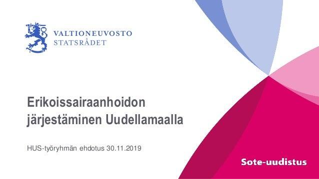 Erikoissairaanhoidon järjestäminen Uudellamaalla HUS-työryhmän ehdotus 30.11.2019