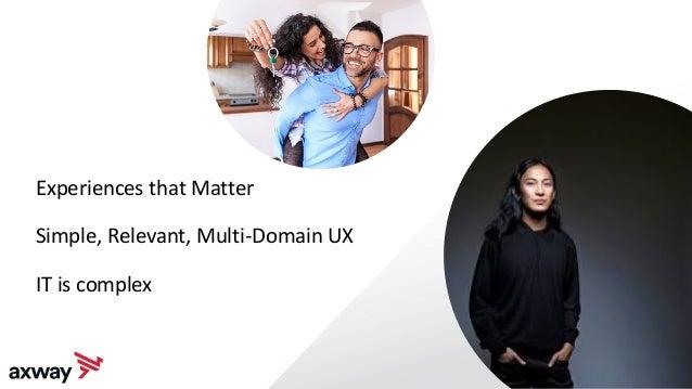 23 Experiences that Matter Simple, Relevant, Multi-Domain UX IT is complex