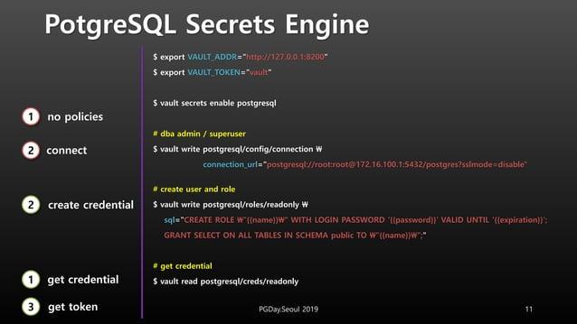 "PotgreSQL Secrets Engine $ export VAULT_ADDR=""http://127.0.0.1:8200"" $ export VAULT_TOKEN=""vault"" $ vault secrets enable p..."
