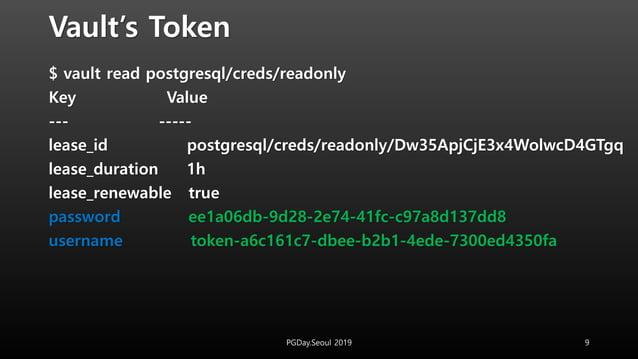Vault's Token $ vault read postgresql/creds/readonly Key Value --- ----- lease_id postgresql/creds/readonly/Dw35ApjCjE3x4W...