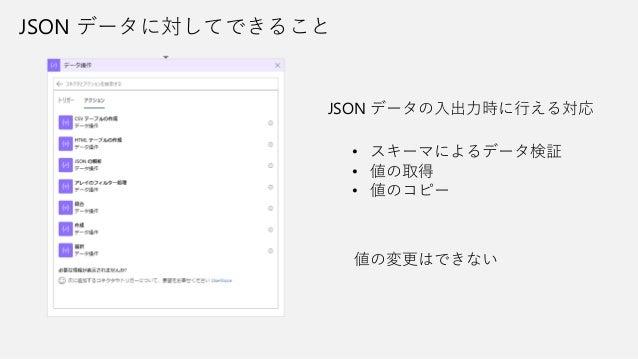 JSON データに対してできること JSON データの入出力時に行える対応 • スキーマによるデータ検証 • 値の取得 • 値のコピー 値の変更はできない
