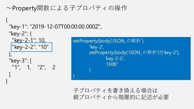 "~Property関数による子プロパティの操作 { ""key-1"": ""2019-12-07T00:00:00.000Z"", ""key-2"": { ""key-2-1"": 10, ""key-2-2"": ""10"" }, ""key-3"": [ ""1""..."