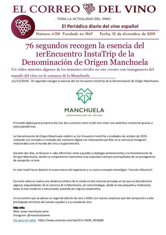 El Correo del Vino Diario El Periódico diario del vino español Número 4.159 Fundado en 1947 Fecha, 12 de diciembre de 2019...