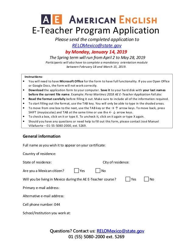 2019 ae e teacher application spring