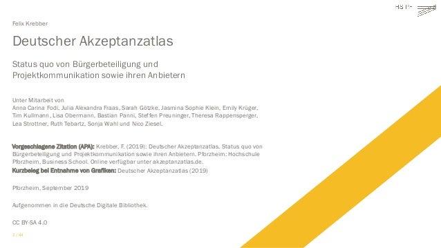 Deutscher Akzeptanzatlas: Status quo von Bürgerbeteiligung und Projektkommunikation sowie ihren Anbietern  Slide 2