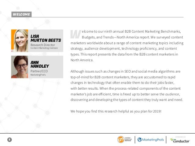 3 SPONSORED BY Welcome to our ninth annual B2B Content Marketing Benchmarks, Budgets, and Trends—North America report. We ...