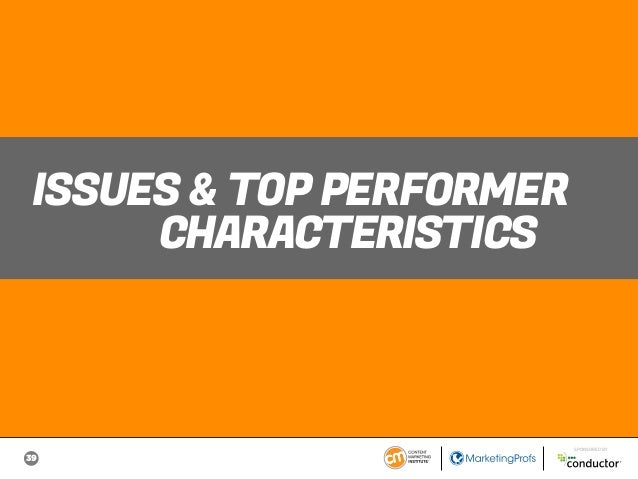 39 SPONSORED BY ISSUES & TOP PERFORMER CHARACTERISTICS