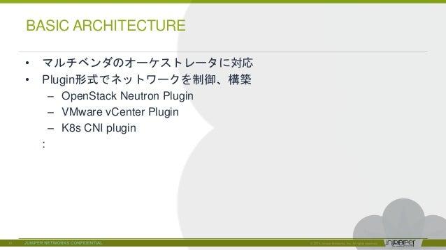 © 2018 Juniper Networks • マルチベンダのオーケストレータに対応 • Plugin形式でネットワークを制御、構築 – OpenStack Neutron Plugin – VMware vCenter Plugin – ...