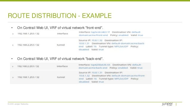 """© 2018 Juniper Networks ROUTE DISTRIBUTION - EXAMPLE • On Contrail Web UI, VRF of virtual network """"front-end"""". • On Contra..."""