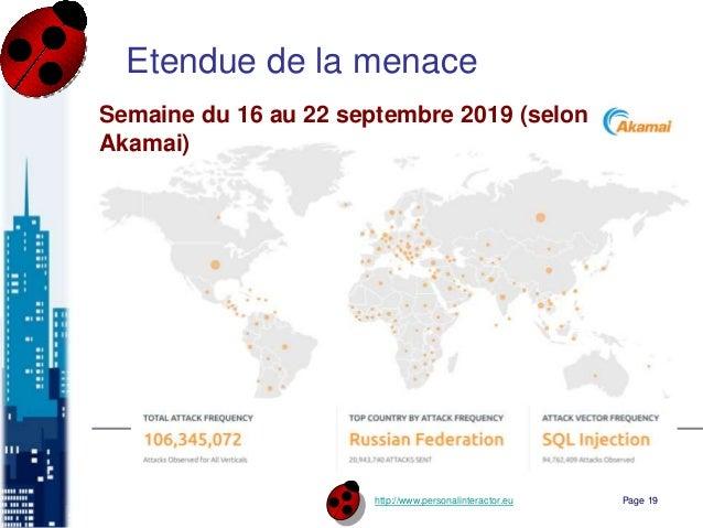 http://www.personalinteractor.eu Etendue de la menace Page 19 Semaine du 16 au 22 septembre 2019 (selon Akamai)