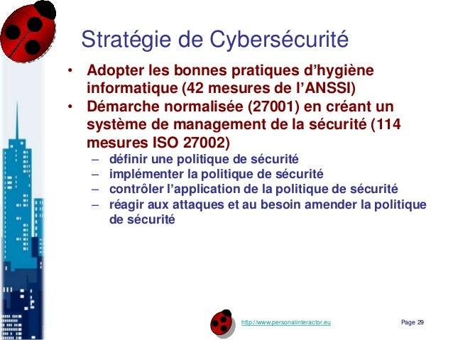 http://www.personalinteractor.eu Stratégie de Cybersécurité • Adopter les bonnes pratiques d'hygiène informatique (42 mesu...