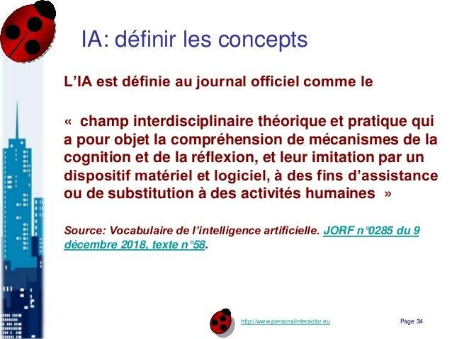 http://www.personalinteractor.eu IA: définir les concepts L'IA est définie au journal officiel comme le « champ interdisci...