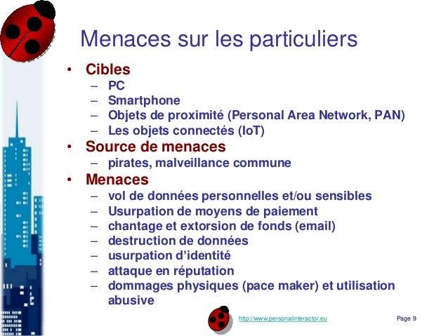 http://www.personalinteractor.eu Menaces sur les particuliers • Cibles – PC – Smartphone – Objets de proximité (Personal A...
