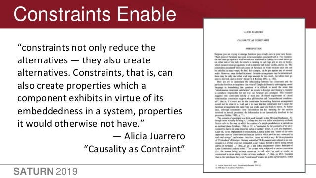 """SATURN 2019 15 Constraints Enable """"constraints not only reduce the alternatives — they also create alternatives. Constrain..."""