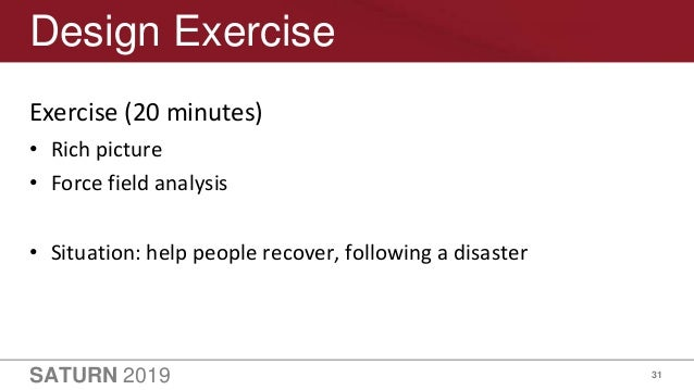 SATURN 2019 31 Design Exercise Exercise (20 minutes) • Rich picture • Force field analysis • Situation: help people recove...
