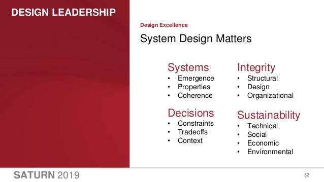 SATURN 2019 DESIGN LEADERSHIP 32 System Design Matters Design Excellence Systems • Emergence • Properties • Coherence Deci...