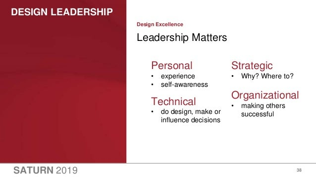 SATURN 2019 DESIGN LEADERSHIP 38 Leadership Matters Design Excellence Personal • experience • self-awareness Technical • d...