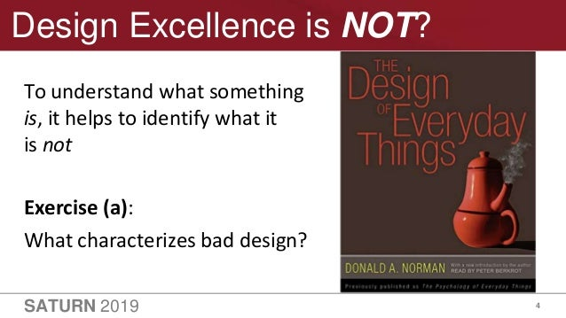 SATURN 2019 4 Design Excellence is NOT? To understand what something is, it helps to identify what it is not Exercise (a):...