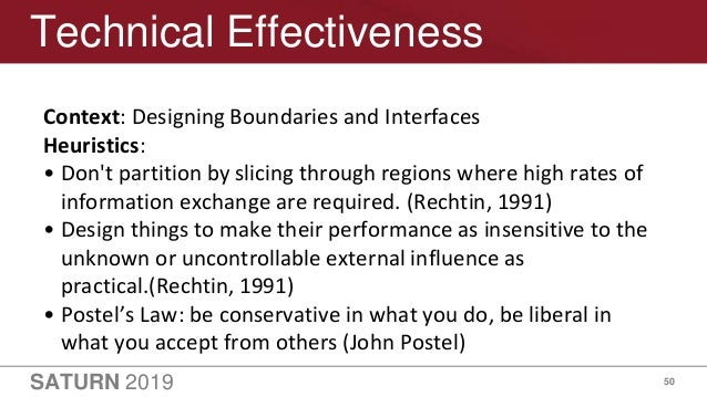 SATURN 2019 50 Technical Effectiveness Context: Designing Boundaries and Interfaces Heuristics: • Don't partition by slici...