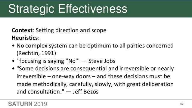 SATURN 2019 52 Strategic Effectiveness Context: Setting direction and scope Heuristics: • No complex system can be optimum...