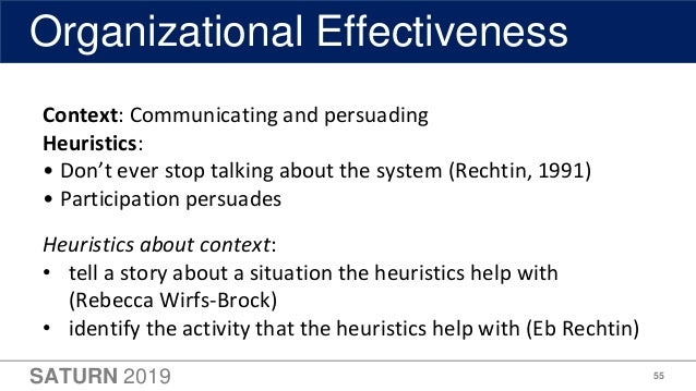 SATURN 2019 55 Organizational Effectiveness Context: Communicating and persuading Heuristics: • Don't ever stop talking ab...
