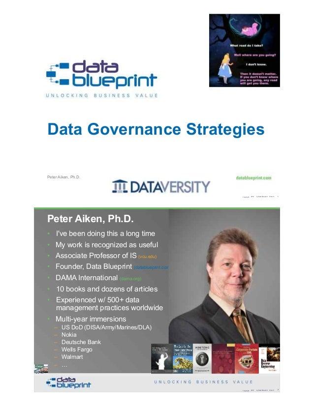 Peter Aiken, Ph.D. Data Governance Strategies Copyright 2019 by Data Blueprint Slide # !1 • DAMA International President 2...