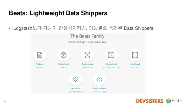 12 Beats: Lightweight Data Shippers • Logstash보다 기능이 한정적이지만, 기능별로 특화된 Data Shippers