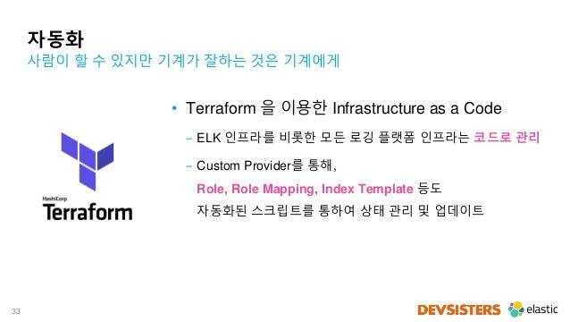 33 자동화 • Terraform 을 이용한 Infrastructure as a Code ‒ ELK 인프라를 비롯한 모든 로깅 플랫폼 인프라는 코드로 관리 ‒ Custom Provider를 통해, Role, Role M...