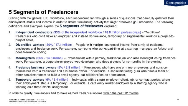 EDEL M A N I NT EL L I GENC E / © 2 0 1 9 5 Segments of Freelancers Starting with the general U.S. workforce, each respond...