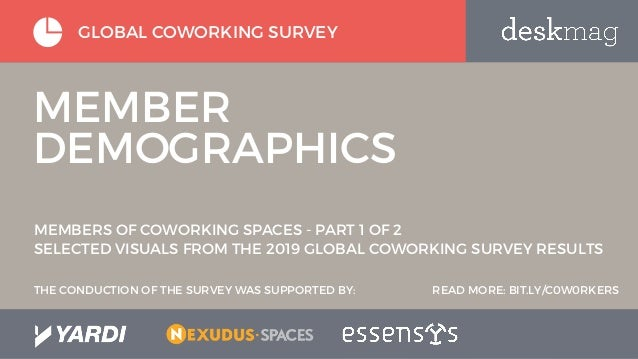 GLOBAL COWORKING SURVEY MEMBER DEMOGRAPHICS MEMBERS OF COWORKING SPACES - PART 1 OF 2 SELECTED VISUALS FROM THE 2019 GLOBA...