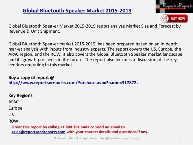 2019 Global Bluetooth Speaker Market: Size, Space, Key