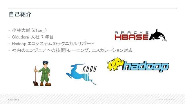 2 © Cloudera, Inc. All rights reserved. 自己紹介 • 小林大輔 (d1ce__) • Cloudera 入社 7 年目 • Hadoop エコシステムのテクニカルサポート • 社内のエンジニアへの技術トレ...