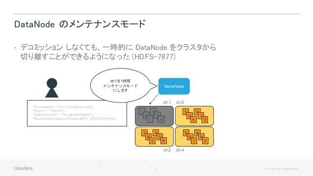 27 © Cloudera, Inc. All rights reserved. DataNode のメンテナンスモード • デコミッション しなくても、一時的に DataNode をクラスタから 切り離すことができるようになった (HDFS-...