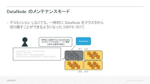 28 © Cloudera, Inc. All rights reserved. DataNode のメンテナンスモード • デコミッション しなくても、一時的に DataNode をクラスタから 切り離すことができるようになった (HDFS-...