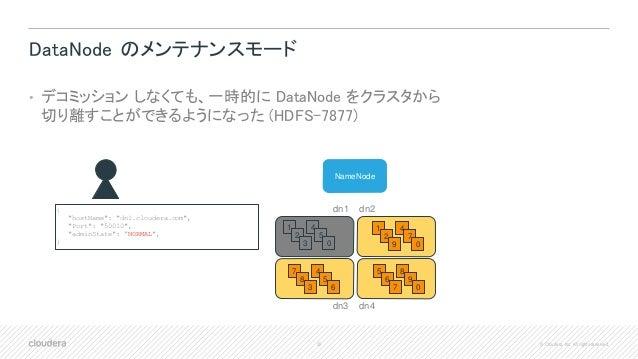 30 © Cloudera, Inc. All rights reserved. DataNode のメンテナンスモード • デコミッション しなくても、一時的に DataNode をクラスタから 切り離すことができるようになった (HDFS-...