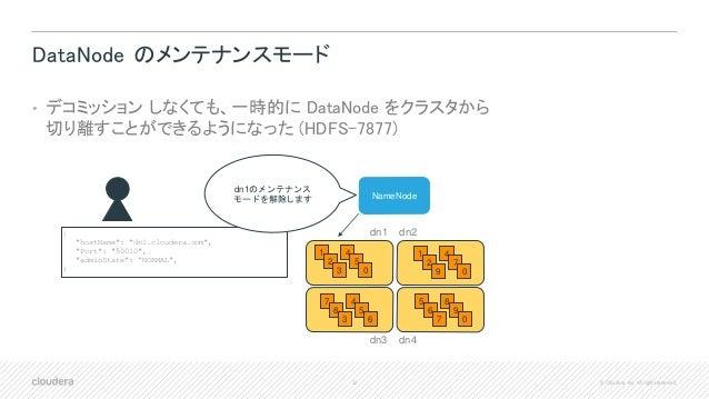 32 © Cloudera, Inc. All rights reserved. DataNode のメンテナンスモード • デコミッション しなくても、一時的に DataNode をクラスタから 切り離すことができるようになった (HDFS-...