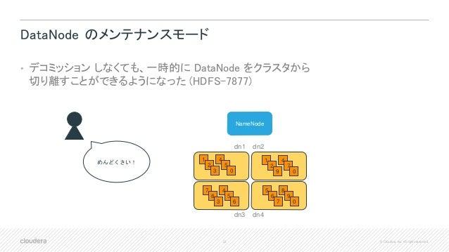 33 © Cloudera, Inc. All rights reserved. DataNode のメンテナンスモード • デコミッション しなくても、一時的に DataNode をクラスタから 切り離すことができるようになった (HDFS-...