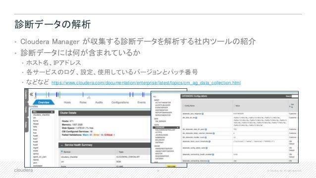 39 © Cloudera, Inc. All rights reserved. 診断データの解析 • Cloudera Manager が収集する診断データを解析する社内ツールの紹介 • 診断データには何が含まれているか • ホスト名、IPア...