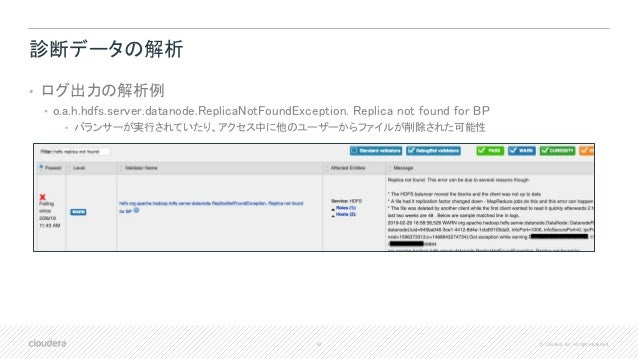 42 © Cloudera, Inc. All rights reserved. 診断データの解析 • ログ出力の解析例 • o.a.h.hdfs.server.datanode.ReplicaNotFoundException. Replic...