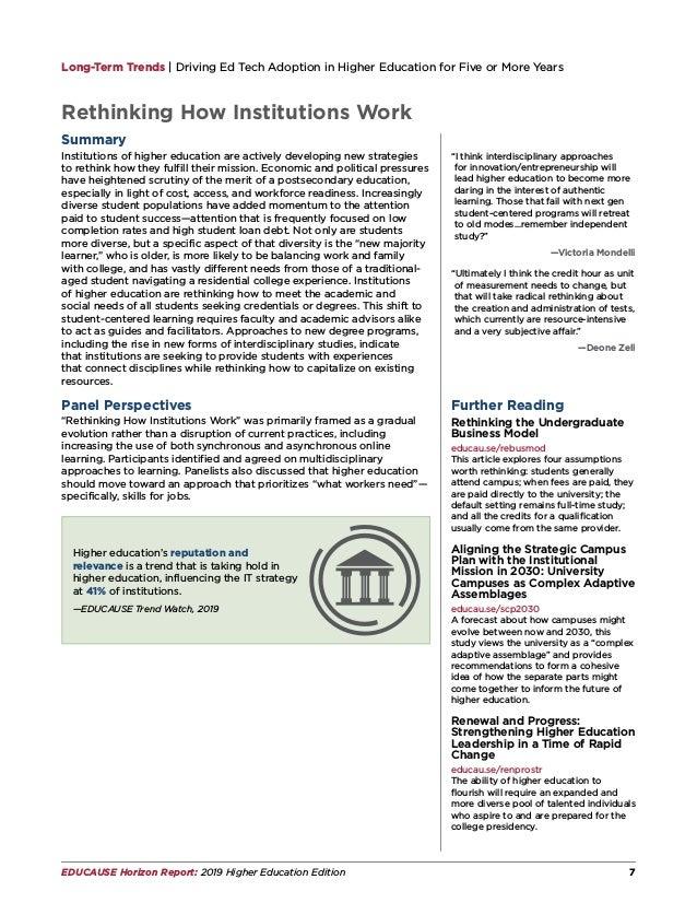 EDUCAUSE Horizon Report | 2019 Higher Education Edition